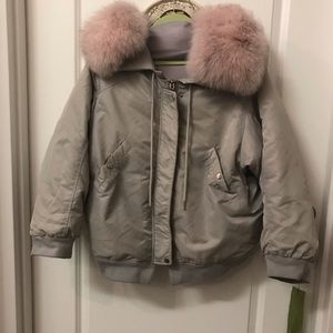 Oversized Real fox Collar Down bomber jacket